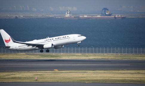 JALの飛行機が飛び立つ瞬間