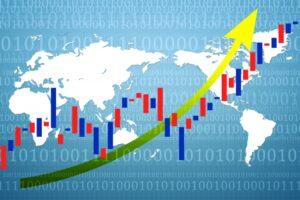 世界で株価が上がるイメージ