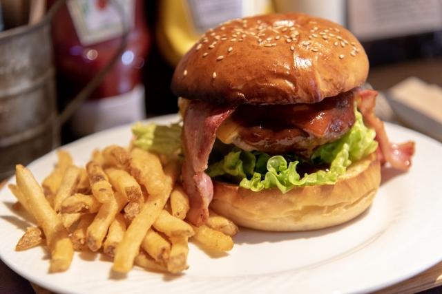 皿に乗るハンバーガーとポテト